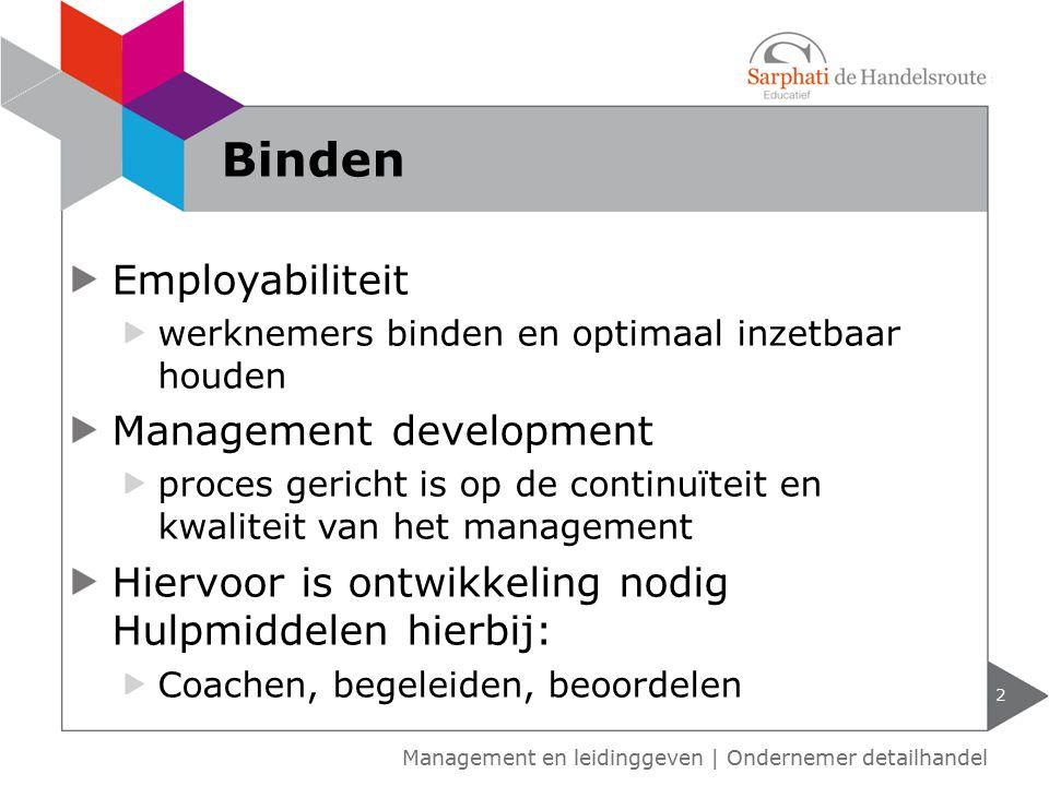 Employabiliteit werknemers binden en optimaal inzetbaar houden Management development proces gericht is op de continuïteit en kwaliteit van het manage