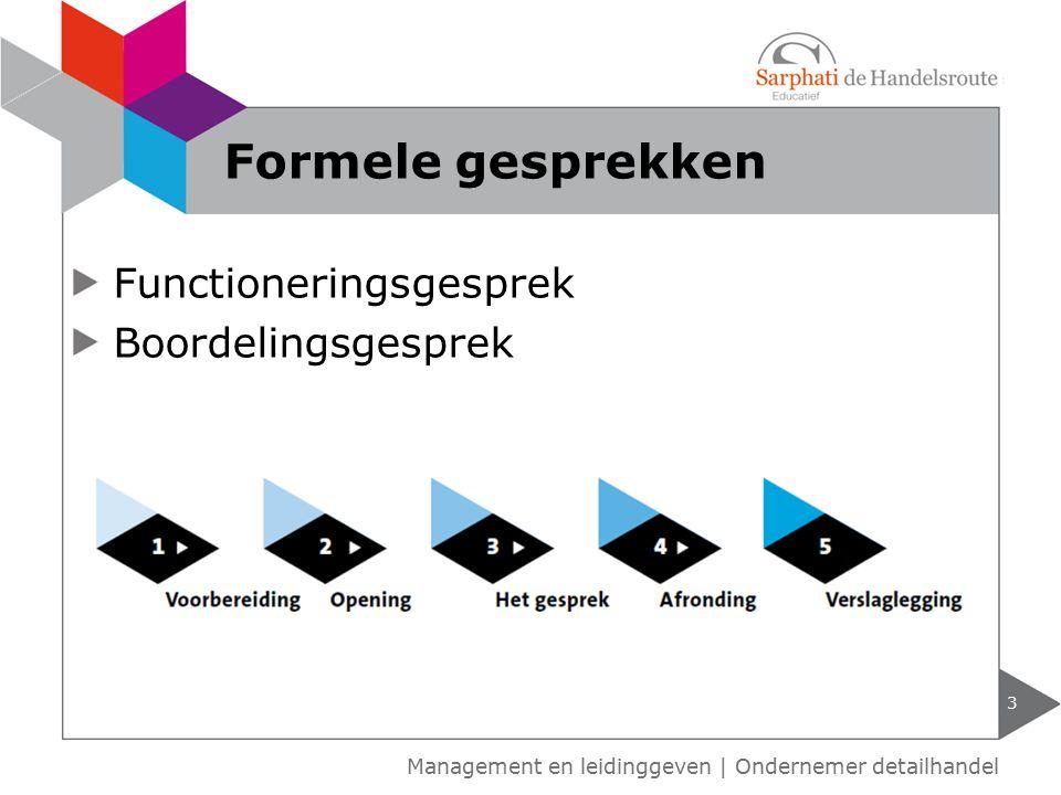 Functioneringsgesprek Boordelingsgesprek Formele gesprekken 3 Management en leidinggeven | Ondernemer detailhandel