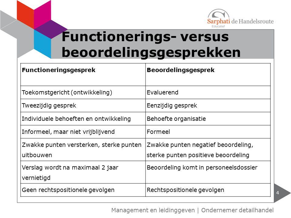 Functionerings- versus beoordelingsgesprekken 4 Functioneringsgesprek Beoordelingsgesprek Toekomstgericht (ontwikkeling)Evaluerend Tweezijdig gesprekE