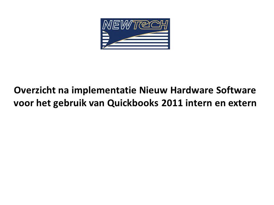 Overzicht na implementatie Nieuw Hardware Software voor het gebruik van Quickbooks 2011 intern en extern
