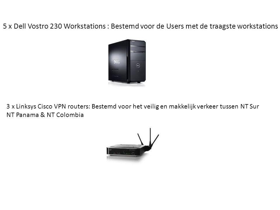 5 x Dell Vostro 230 Workstations : Bestemd voor de Users met de traagste workstations 3 x Linksys Cisco VPN routers: Bestemd voor het veilig en makkelijk verkeer tussen NT Sur NT Panama & NT Colombia
