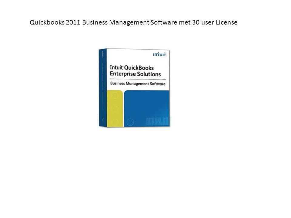 Quickbooks 2011 Business Management Software met 30 user License