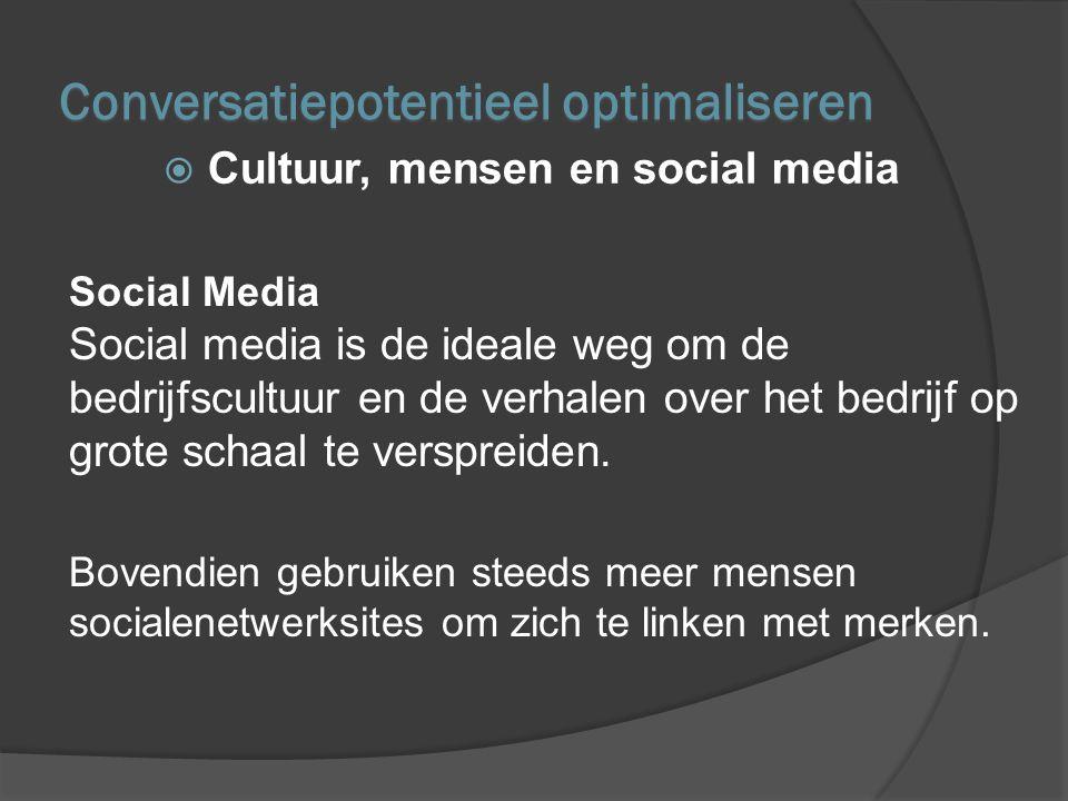De Conversation Company Het managen van social media door:  Bereik opbouwen  Structurele samenwerking met de markt op te zetten