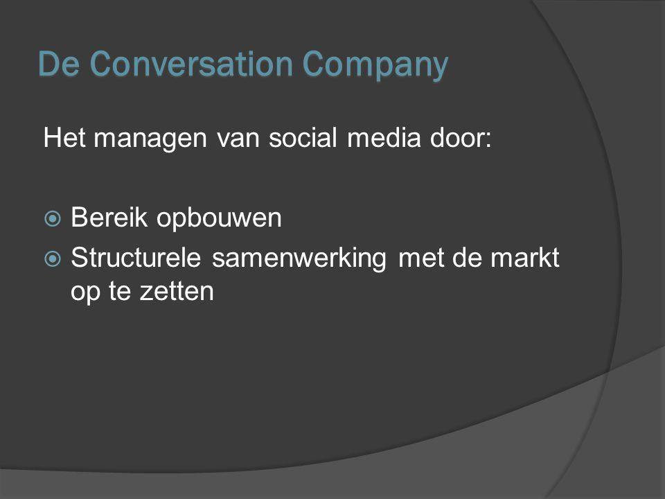 De 4 C's Om de Conversation Company op te bouwen 4 pijlers managen -Customer experience -Conversaties -Content -Collaboratie (klanten, medewerkers, leveranciers)