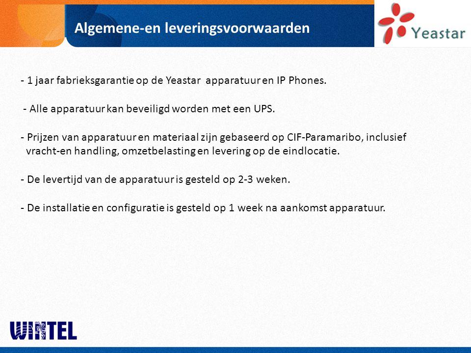 Algemene-en leveringsvoorwaarden - 1 jaar fabrieksgarantie op de Yeastar apparatuur en IP Phones. - Alle apparatuur kan beveiligd worden met een UPS.