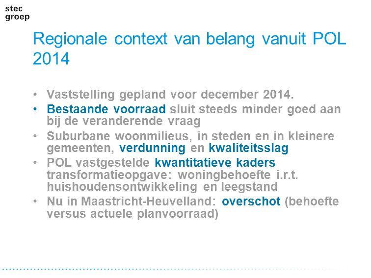 Regionale context van belang vanuit POL 2014 Vaststelling gepland voor december 2014. Bestaande voorraad sluit steeds minder goed aan bij de verandere