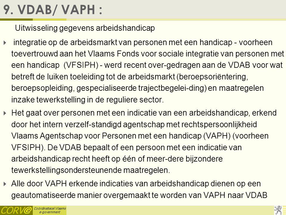 Coördinatiecel Vlaams e-government 8. Ondernemingsfoto  Departement EWI samen met IWT een pilot doen om hun data samen te brengen. –Dus gegevensuitwi
