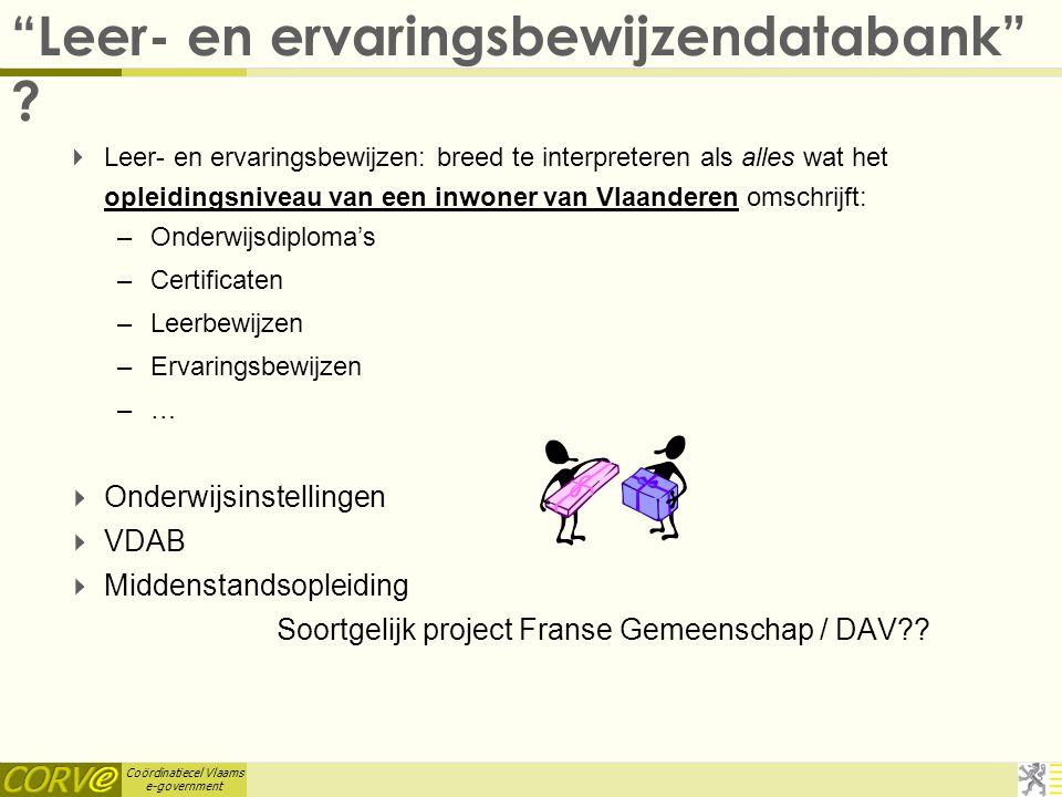 Coördinatiecel Vlaams e-government 11. VLAO : GIS Bedrijventerreinen  VLAO inventariseert de bezetting en de beschikbaarheid van de Vlaamse bedrijven