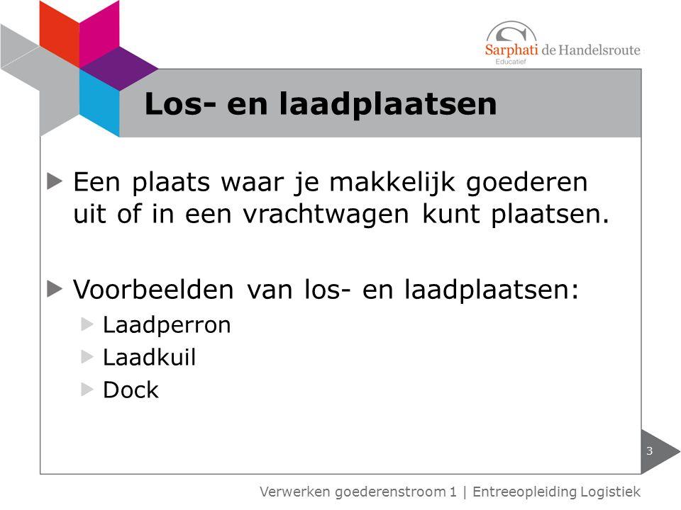 Een plaats waar je makkelijk goederen uit of in een vrachtwagen kunt plaatsen. Voorbeelden van los- en laadplaatsen: Laadperron Laadkuil Dock 3 Verwer