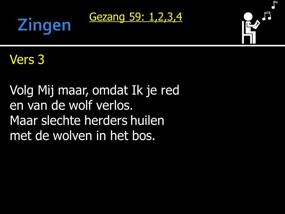 Gezang 59: 1,2,3,4 Vers 3 Volg Mij maar, omdat Ik je red en van de wolf verlos. Maar slechte herders huilen met de wolven in het bos.