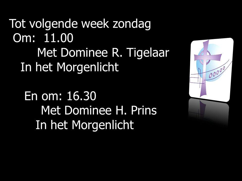 Tot volgende week zondag Om: 11.00 Om: 11.00 Met Dominee R. Tigelaar Met Dominee R. Tigelaar In het Morgenlicht In het Morgenlicht En om: 16.30 En om: