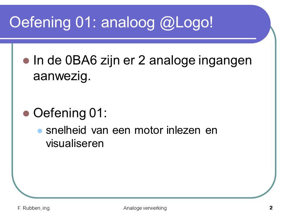 F.Rubben, ing.Analoge verwerking3 Oefening 01: analoog @Logo.