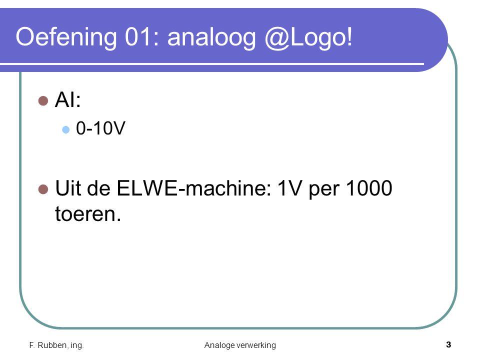 F. Rubben, ing.Analoge verwerking3 Oefening 01: analoog @Logo.