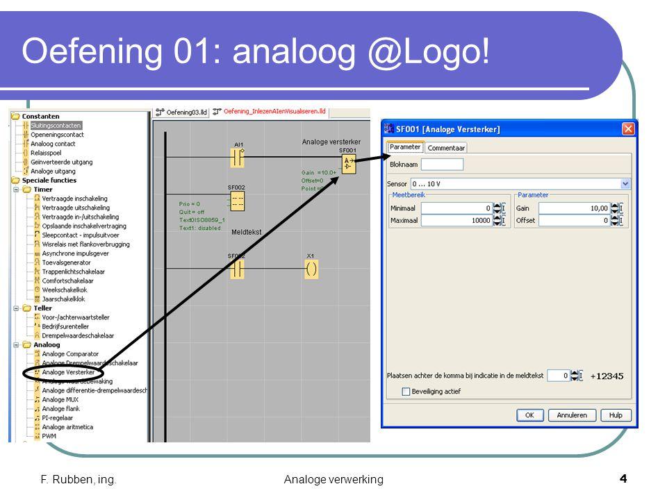 F. Rubben, ing.Analoge verwerking4 Oefening 01: analoog @Logo!