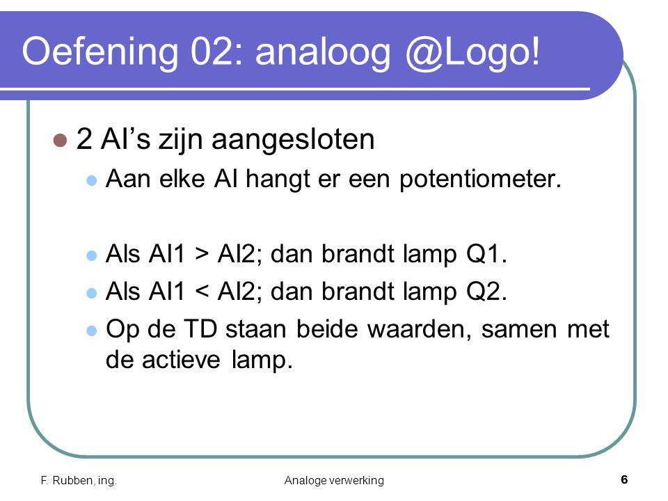 F. Rubben, ing.Analoge verwerking6 Oefening 02: analoog @Logo.