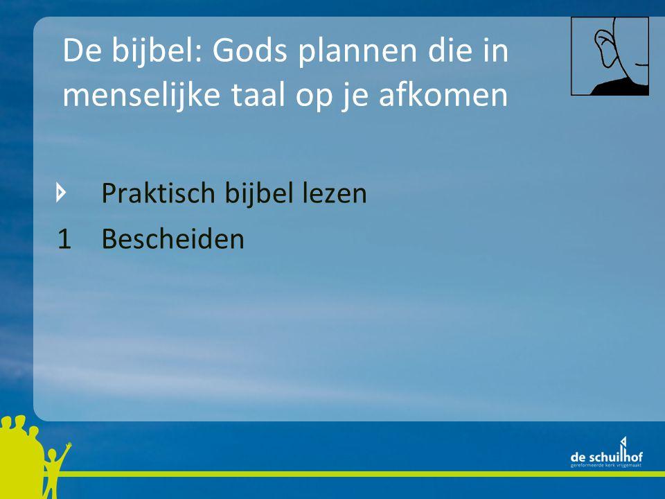 De bijbel: Gods plannen die in menselijke taal op je afkomen Praktisch bijbel lezen 1 Bescheiden