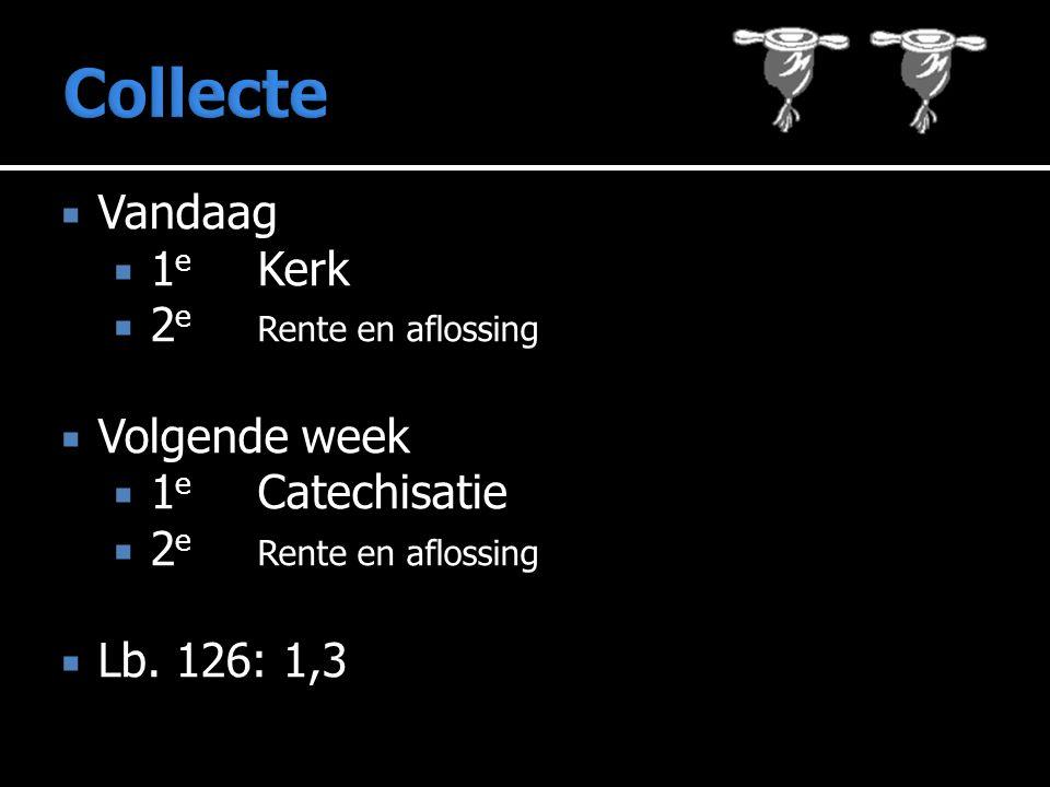  Vandaag  1 e Kerk  2 e Rente en aflossing  Volgende week  1 e Catechisatie  2 e Rente en aflossing  Lb.