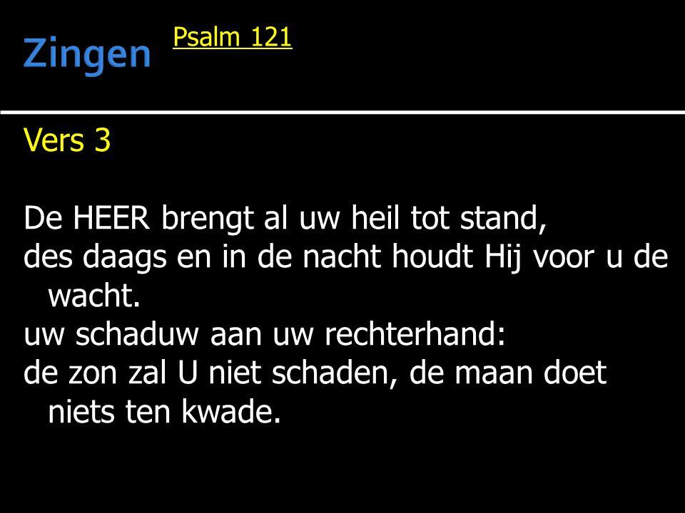 Vers 3 De HEER brengt al uw heil tot stand, des daags en in de nacht houdt Hij voor u de wacht. uw schaduw aan uw rechterhand: de zon zal U niet schad