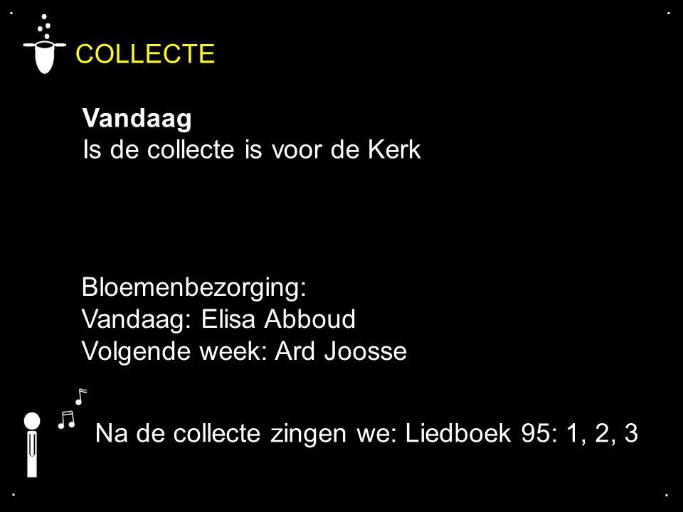 .... COLLECTE Vandaag Is de collecte is voor de Kerk Na de collecte zingen we: Liedboek 95: 1, 2, 3 Bloemenbezorging: Vandaag: Elisa Abboud Volgende w
