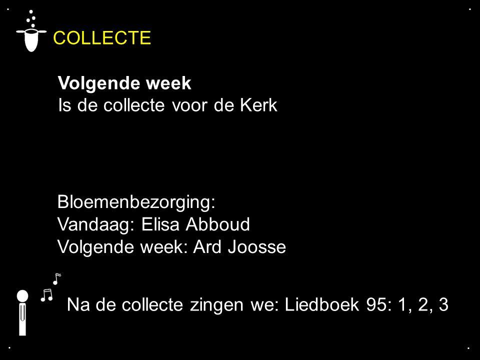 .... COLLECTE Volgende week Is de collecte voor de Kerk Bloemenbezorging: Vandaag: Elisa Abboud Volgende week: Ard Joosse Na de collecte zingen we: Li
