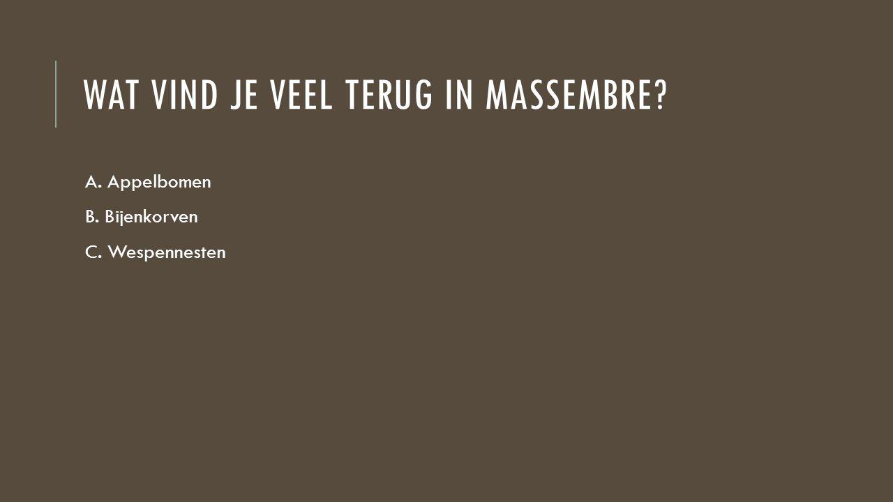 WAT VIND JE VEEL TERUG IN MASSEMBRE? A. Appelbomen B. Bijenkorven C. Wespennesten