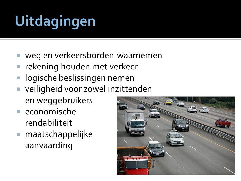  weg en verkeersborden waarnemen  rekening houden met verkeer  logische beslissingen nemen  veiligheid voor zowel inzittenden en weggebruikers  economische rendabiliteit  maatschappelijke aanvaarding