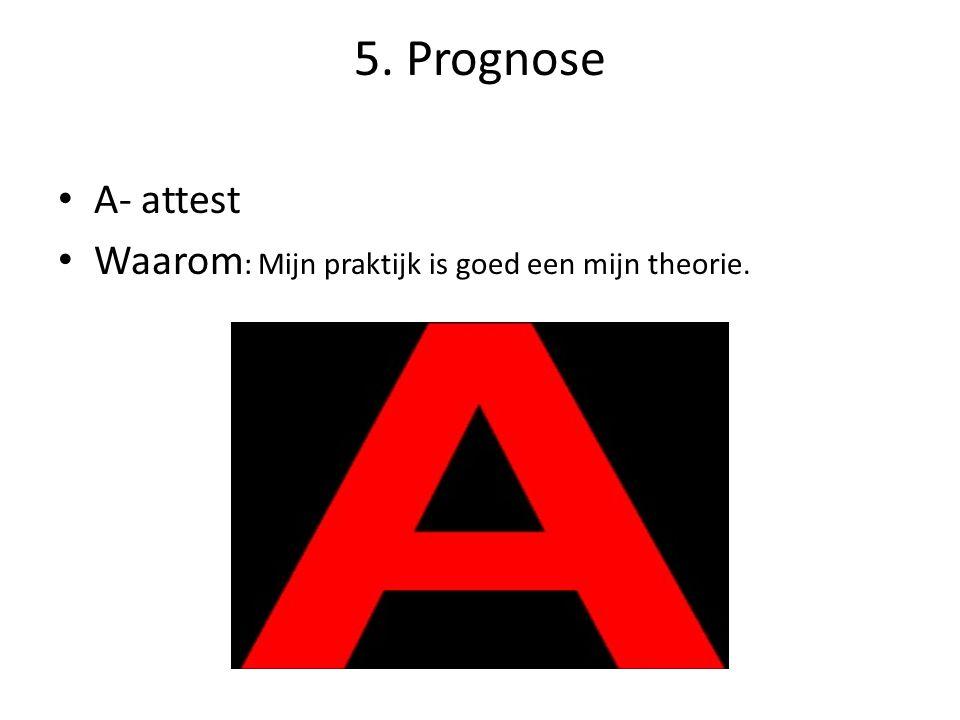 5. Prognose A- attest Waarom : Mijn praktijk is goed een mijn theorie.