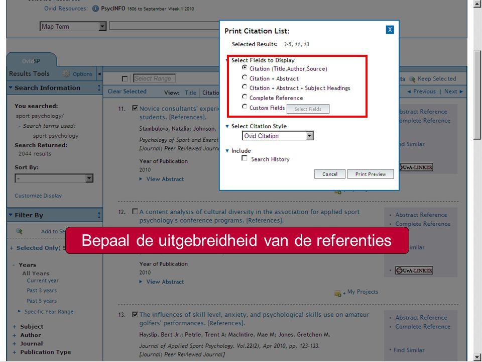 14 Meer weten over Refworks? Zie www.uba.uva.nl/hulp/cursussenwww.uba.uva.nl/hulp/cursussen