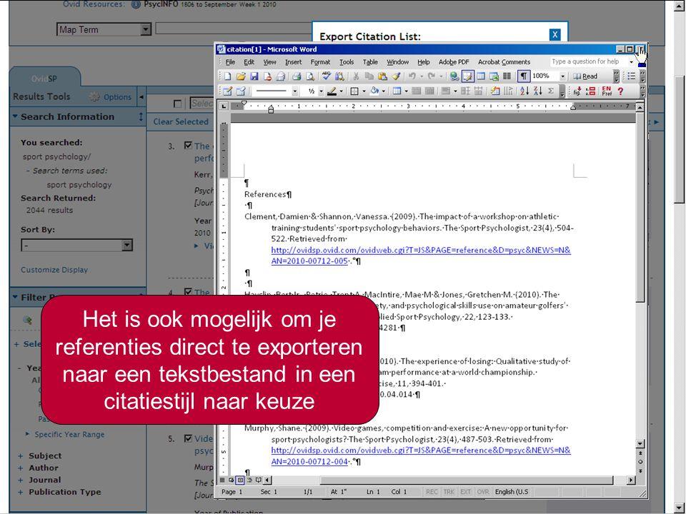 10 Exporteren van de referenties naar een Citatiemanager Selecteer de software die u gebruikt