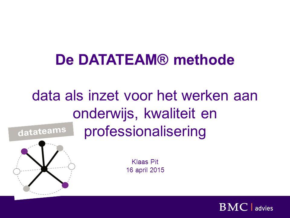 Data als sturingsinstrument (Nog) teveel een zaak van de de bestuurder, de schoolleider en de stafafdeling Vooral met als inzet om beter te kunnen sturen op te sturen thema's Te vaak geïsoleerde aandacht voor afzonderlijke thema's