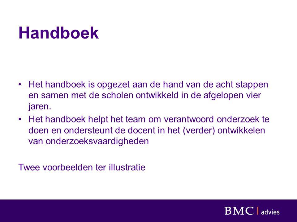 Handboek Het handboek is opgezet aan de hand van de acht stappen en samen met de scholen ontwikkeld in de afgelopen vier jaren. Het handboek helpt het