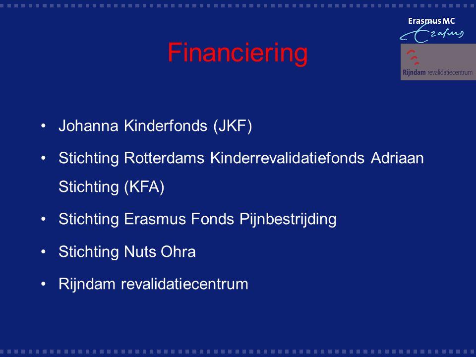 Financiering Johanna Kinderfonds (JKF) Stichting Rotterdams Kinderrevalidatiefonds Adriaan Stichting (KFA) Stichting Erasmus Fonds Pijnbestrijding Stichting Nuts Ohra Rijndam revalidatiecentrum