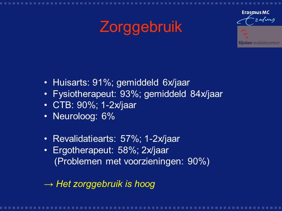Zorggebruik Huisarts: 91%; gemiddeld 6x/jaar Fysiotherapeut: 93%; gemiddeld 84x/jaar CTB: 90%; 1-2x/jaar Neuroloog: 6% Revalidatiearts: 57%; 1-2x/jaar Ergotherapeut: 58%; 2x/jaar (Problemen met voorzieningen: 90%) → Het zorggebruik is hoog