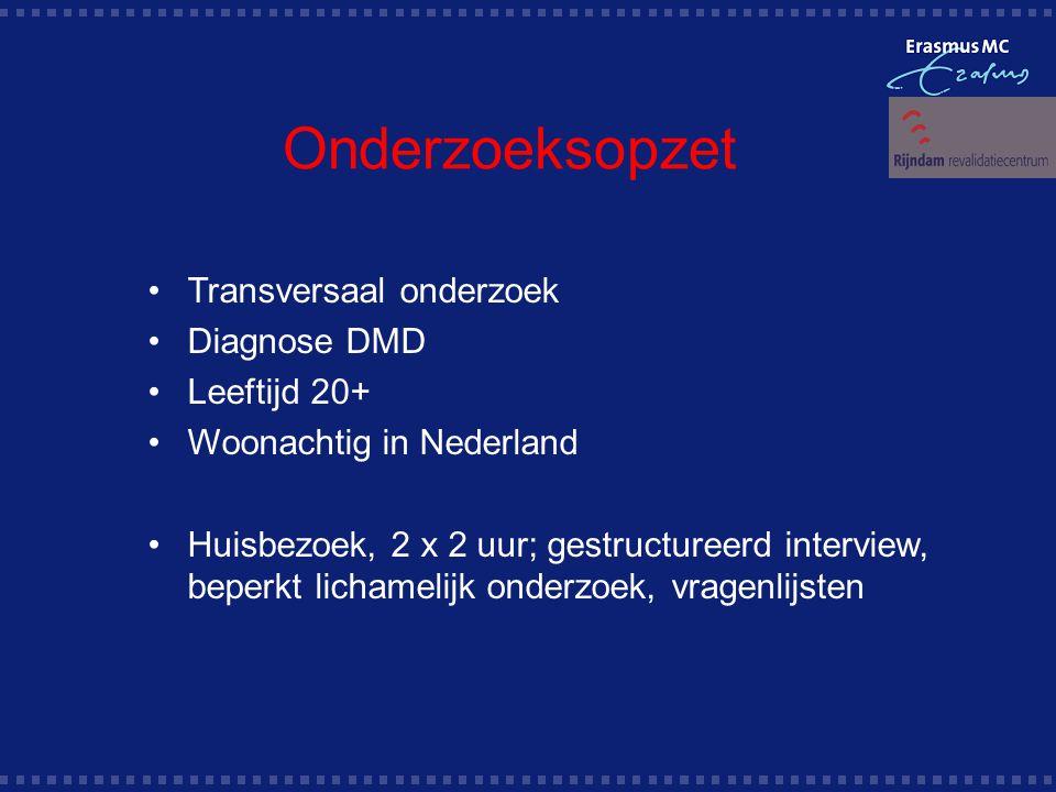 Onderzoeksopzet Transversaal onderzoek Diagnose DMD Leeftijd 20+ Woonachtig in Nederland Huisbezoek, 2 x 2 uur; gestructureerd interview, beperkt lichamelijk onderzoek, vragenlijsten
