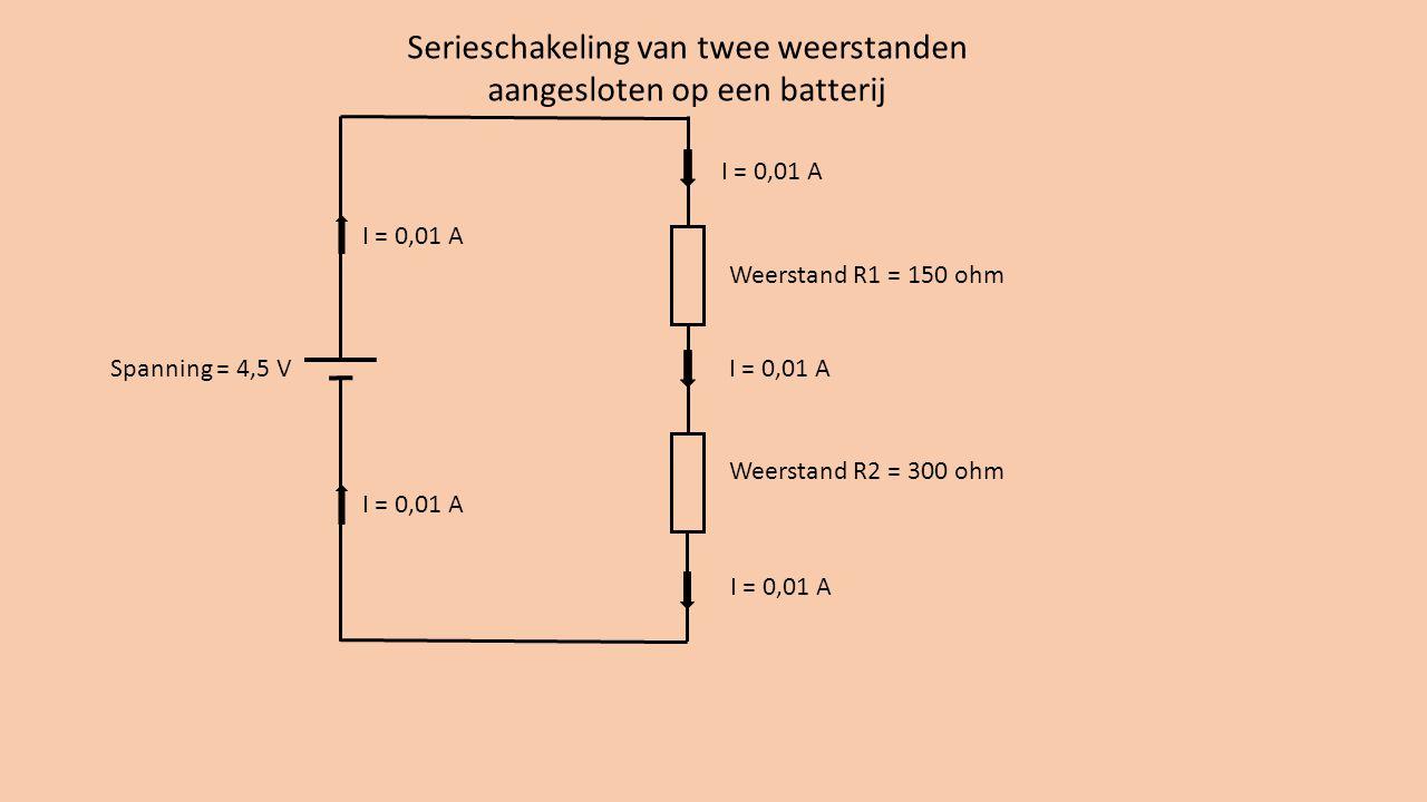 Weerstand R1 = 150 ohm Weerstand R2 = 300 ohm Serieschakeling van twee weerstanden aangesloten op een batterij Spanning = 4,5 V I = 0,01 A Serieschakeling: stroom door de weerstanden is gelijk.