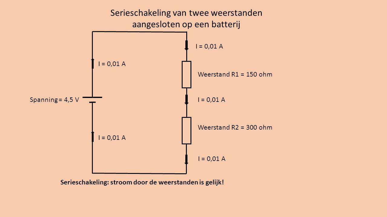 Weerstand R1 = 150 ohm Weerstand R2 = 300 ohm Serieschakeling van twee weerstanden aangesloten op een batterij Spanning = 4,5 V I = 0,01 A U 1 = 1,5 V U 2 = 3 V Let op de spanningen!