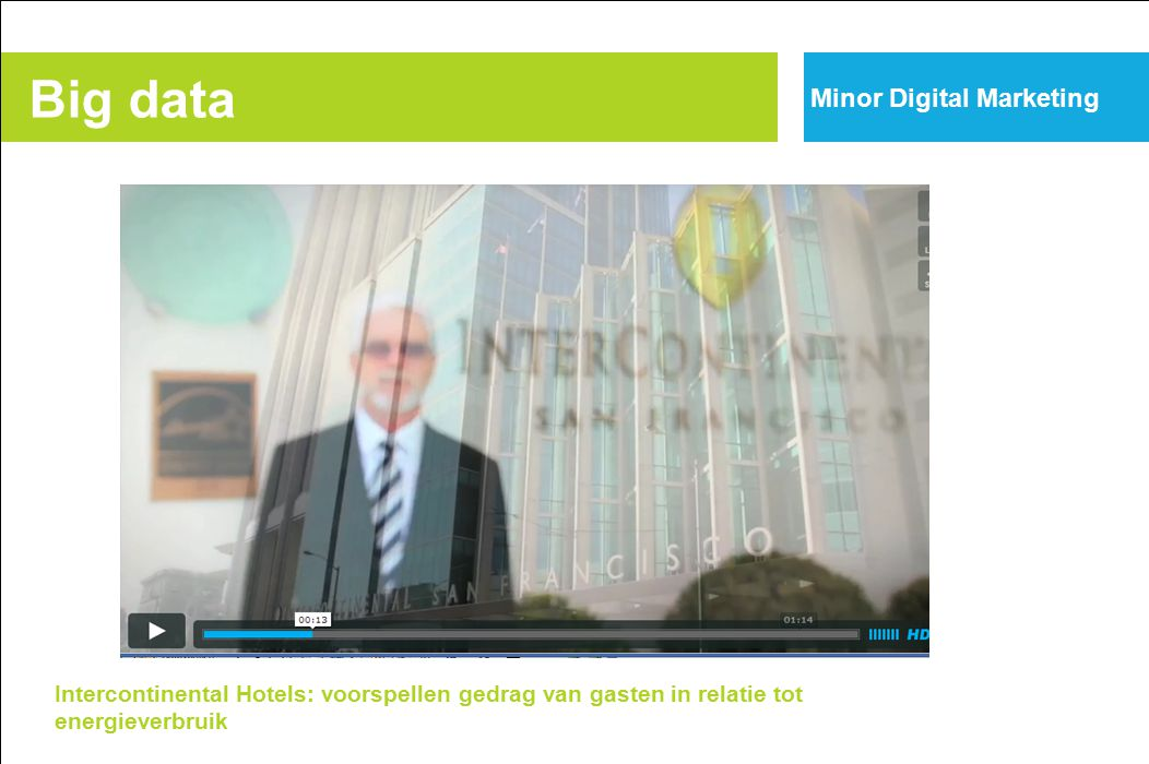 Big data Intercontinental Hotels: voorspellen gedrag van gasten in relatie tot energieverbruik Minor Digital Marketing