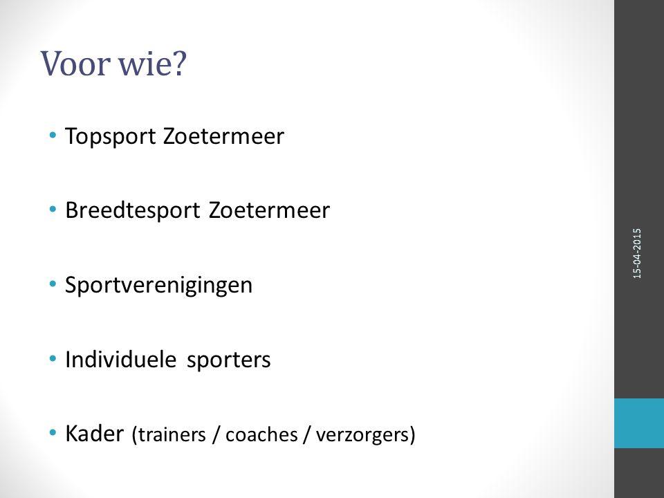 Bedankt voor uw aandacht Sport Medisch Netwerk Zoetermeer 15-04-2015
