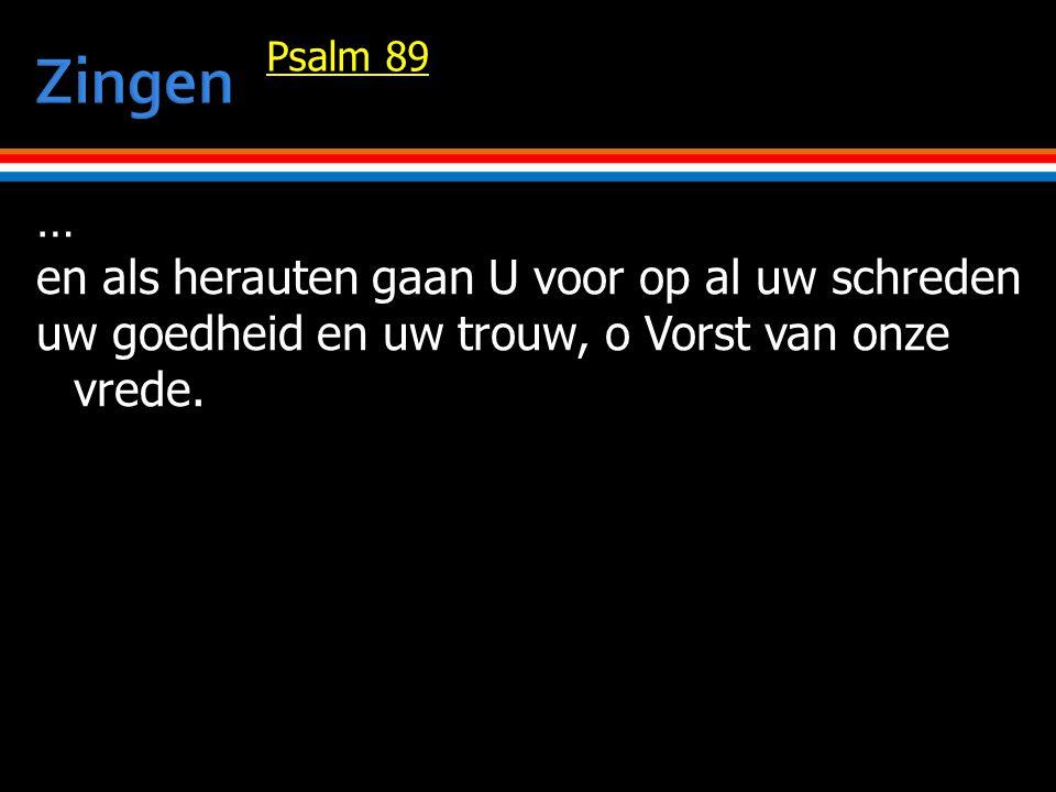 … en als herauten gaan U voor op al uw schreden uw goedheid en uw trouw, o Vorst van onze vrede.