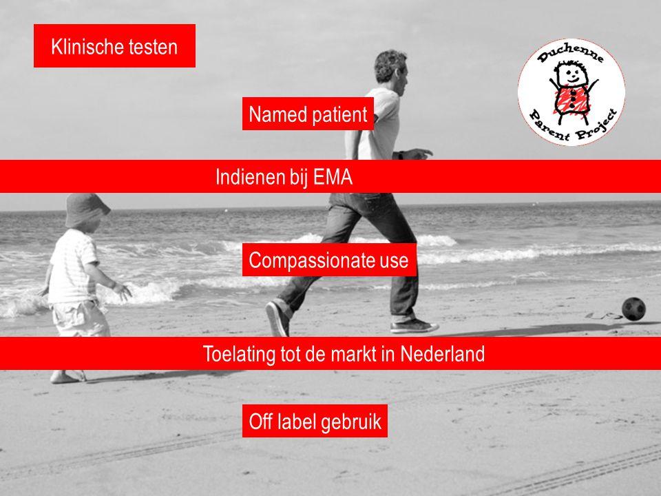 Klinische testen Toelating tot de markt in Nederland Indienen bij EMA Named patient Compassionate use Off label gebruik