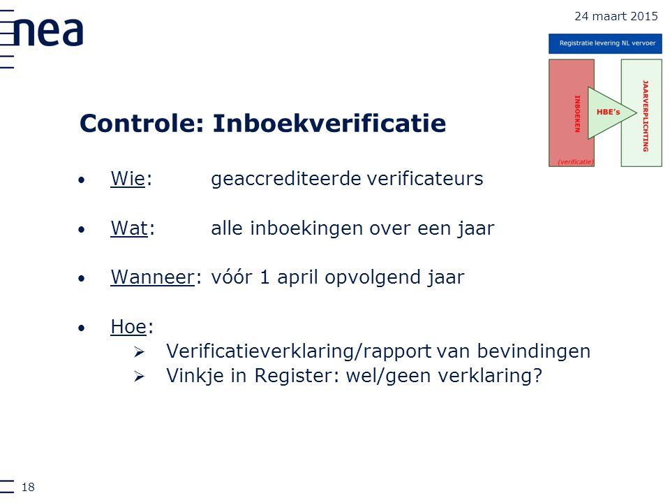Controle: Inboekverificatie Wie:geaccrediteerde verificateurs Wat:alle inboekingen over een jaar Wanneer:vóór 1 april opvolgend jaar Hoe:  Verificati