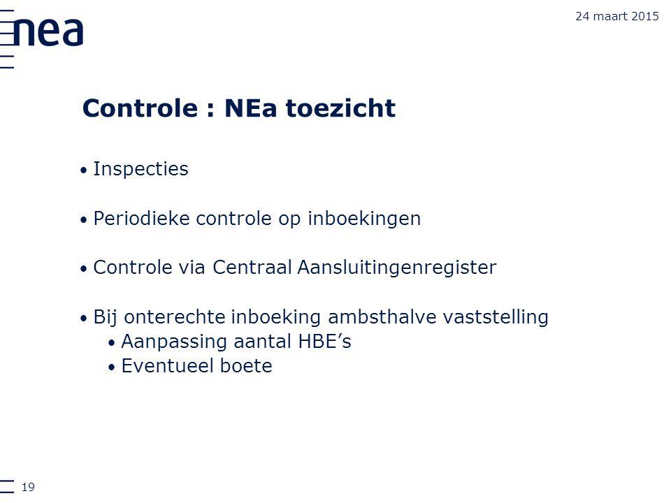 24 maart 2015 Controle : NEa toezicht Inspecties Periodieke controle op inboekingen Controle via Centraal Aansluitingenregister Bij onterechte inboeki