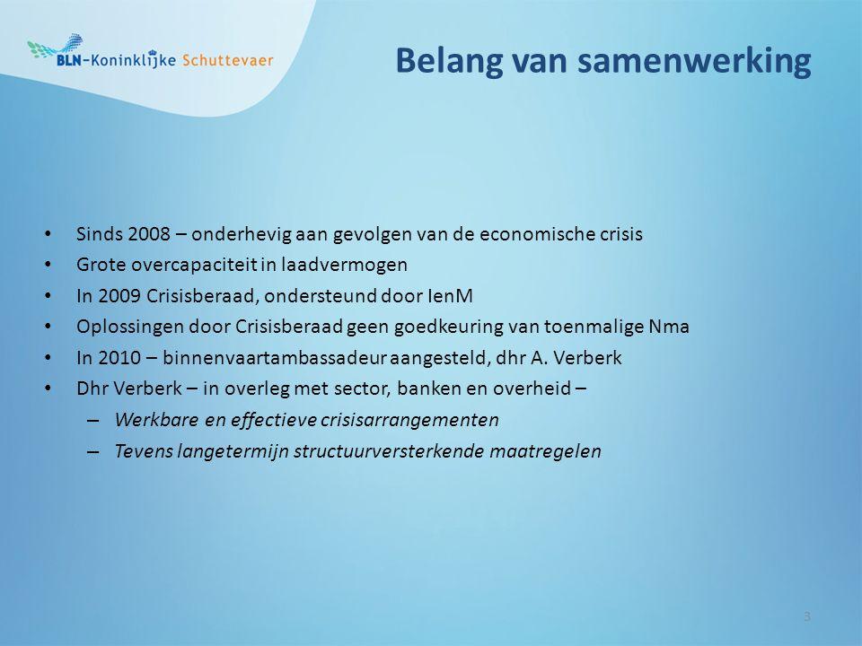 Belang van samenwerking 3 Sinds 2008 – onderhevig aan gevolgen van de economische crisis Grote overcapaciteit in laadvermogen In 2009 Crisisberaad, on