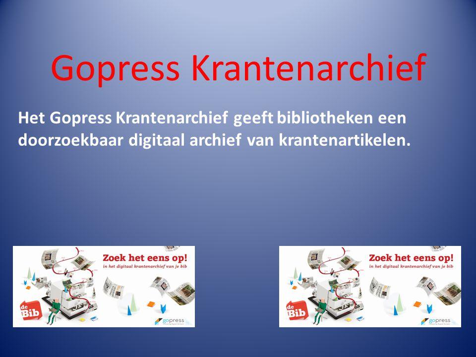 Het Gopress Krantenarchief geeft bibliotheken een doorzoekbaar digitaal archief van krantenartikelen.