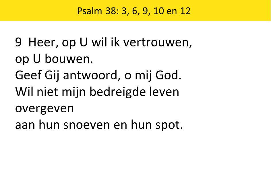 Psalm 38: 3, 6, 9, 10 en 12 9 Heer, op U wil ik vertrouwen, op U bouwen.
