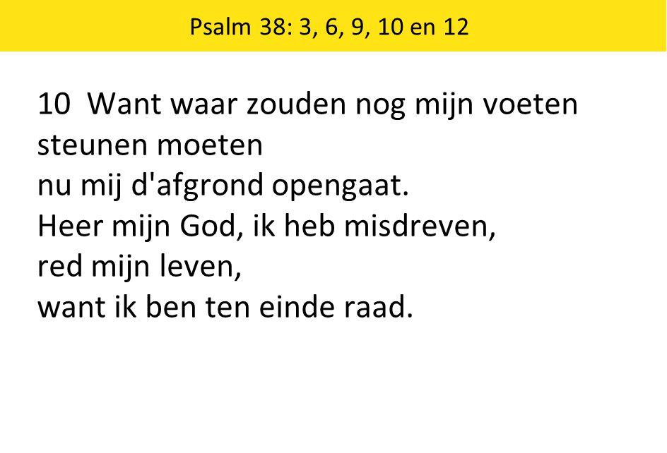 Psalm 38: 3, 6, 9, 10 en 12 10 Want waar zouden nog mijn voeten steunen moeten nu mij d afgrond opengaat.