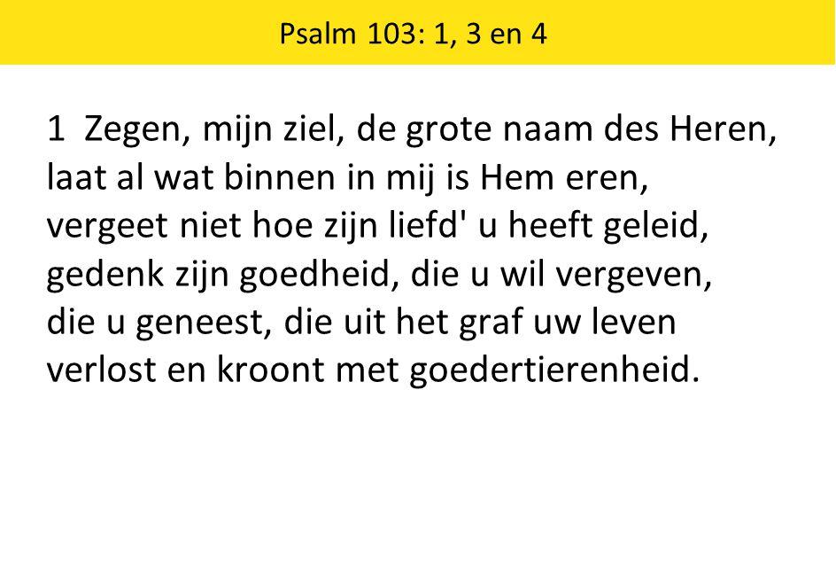 Psalm 103: 1, 3 en 4 1 Zegen, mijn ziel, de grote naam des Heren, laat al wat binnen in mij is Hem eren, vergeet niet hoe zijn liefd u heeft geleid, gedenk zijn goedheid, die u wil vergeven, die u geneest, die uit het graf uw leven verlost en kroont met goedertierenheid.