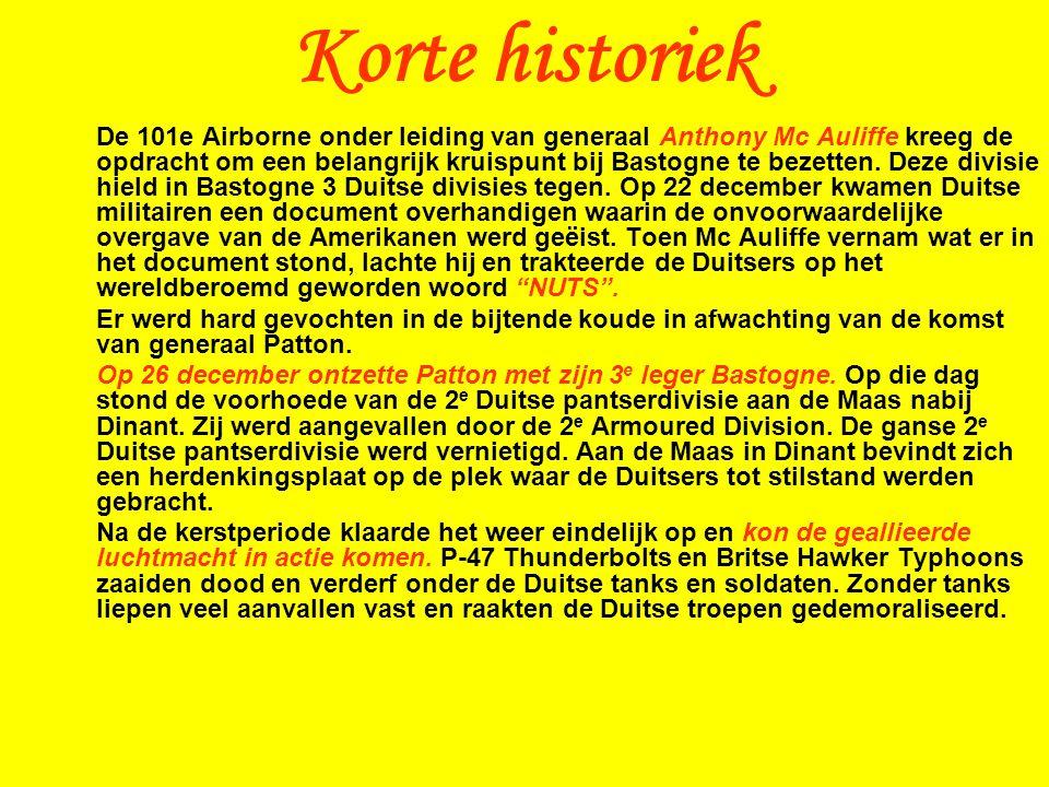 De 101e Airborne onder leiding van generaal Anthony Mc Auliffe kreeg de opdracht om een belangrijk kruispunt bij Bastogne te bezetten.