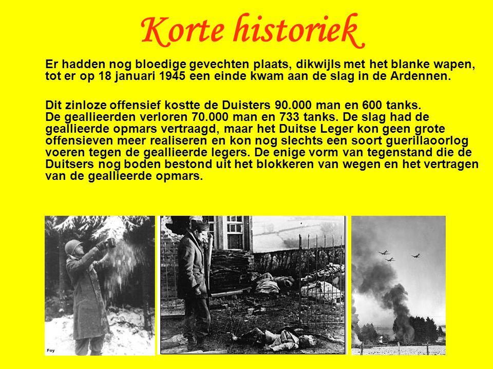 Er hadden nog bloedige gevechten plaats, dikwijls met het blanke wapen, tot er op 18 januari 1945 een einde kwam aan de slag in de Ardennen.