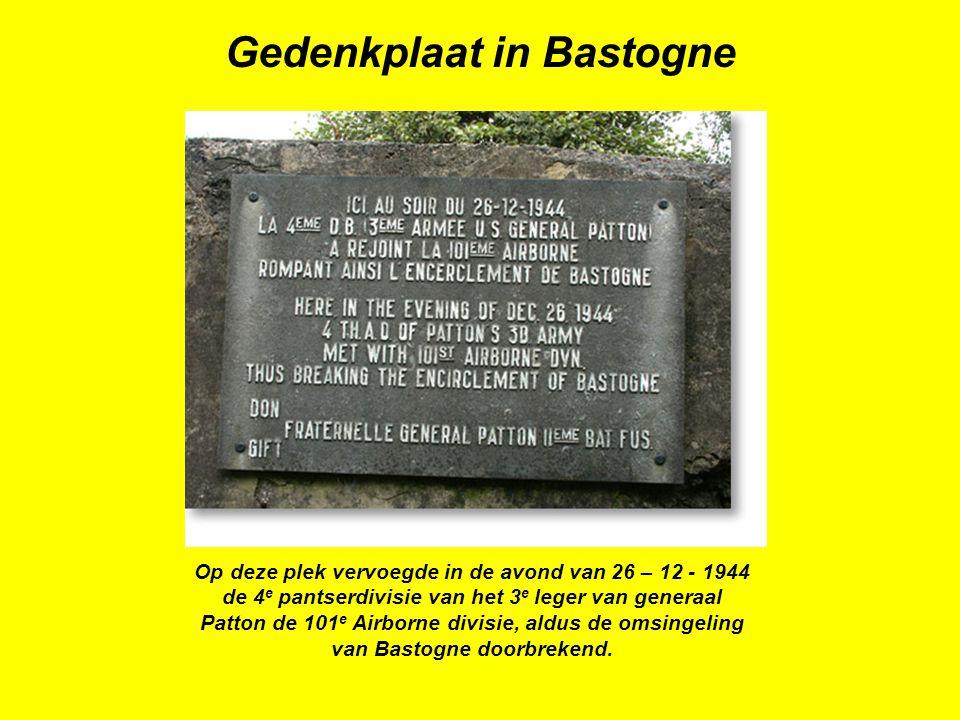 Op deze plek vervoegde in de avond van 26 – 12 - 1944 de 4 e pantserdivisie van het 3 e leger van generaal Patton de 101 e Airborne divisie, aldus de omsingeling van Bastogne doorbrekend.